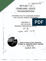 Skylab 1/4 Onboard Voice Transcription Vol 6 of 6