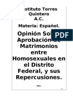 Opinión Sobre Matrimonios Homoxesuales.