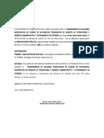Modelo de TRANSFERENCIA DE ACCIONES, MODIFICACION DE CUADRO DE ACCIONISTAS, DESIGNACION DE GERENTE DE OPERACIONES Y GERENTE ADMINISTRATIVO Y OTORGAMIENTO DE PODERES