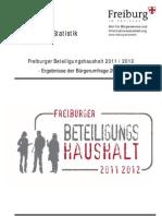 Freiburger Beteiligungshaushalt 2011/2012 Umfrage