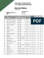 PLAN DE ESTUDIOS LICENCIATURA EN FISICA