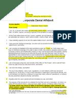 Generic Corporate Denial Affidavit