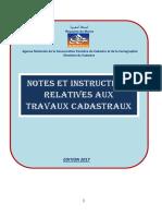 Note et instructions relatives aux travaux cadastraux