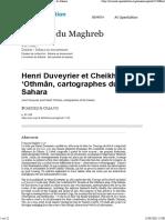 Henri Duveyrier et Cheikh 'Othmân, cartographes du Sahara