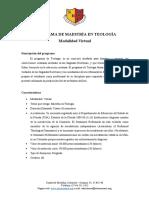 PROGRAMA DE MAESTRÍA EN TEOLOGÍA-VIRTUAL enero 2021