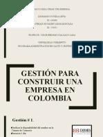 GESTIÓN PARA CONSTRUIR UNA EMPRESA EN COLOMBIA