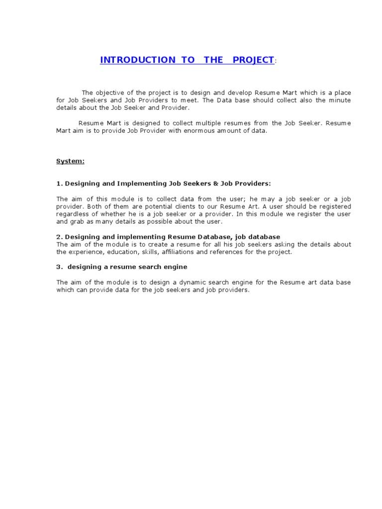 online resume mart documentation | Oracle Database | Databases