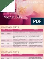 I. Vocabulary
