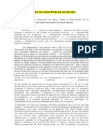 MODELO DE ESCRITO DE PRUEBA COLOCACION FAMILIAR