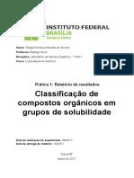 Classificação de compostos orgânicos em grupos de solubilidade