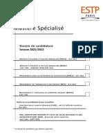 ESTP Paris - Dossier candidature 2021-2022
