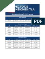 Horarios Cursos Extensiones t1 2021