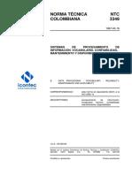 NTC3349  SISTEMAS DE PROCESAMIENTO DE NFORMACION VOCABULARIO CONFIABILIDAD MANTENIIENTO Y CONFIABILIDAD