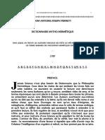 Alchimie Dom Pernety Dictionnaire Mytho Hermetique