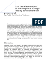 A closer look at the relationship of cognitive and metacognitive strategy use to EFL reading achievement test performance