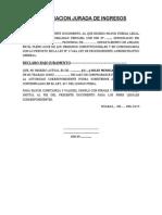 DECLARACION JURADA - INGRESOS