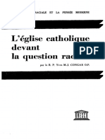 "CONGAR, Yves M.J., L'Eglise catholique devant la question raciale, Paris, UNESCO, ""La Question raciale et la pensée moderne"", 1953"