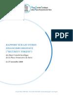 Rapport du HCJP sur les Titres Financiers Digitaux (Security Tokens)