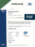 Zertifikat ISO 9001 3M Deutschland GmbH Inkl. 3M Technical Ceramics, Dyneon, WENDT, Wien Und Rüschlikon - Englisch