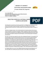 Reaction Paper on National Kindergarten Curriculum Guide