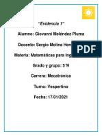 Evidencia 1 - Giovanni Melendez Pluma, 5°H.