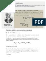 Ley de Lavoisier ejemplos