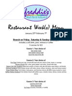 Freddie's Beach Bar Restaurant Week menu