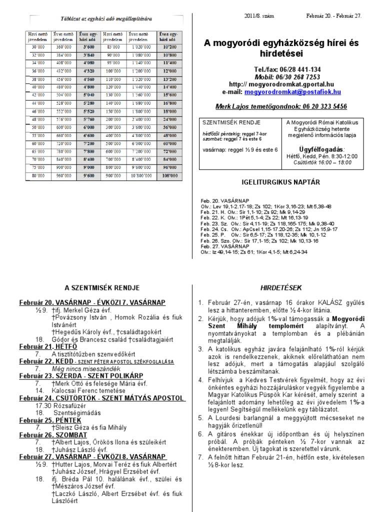 igeliturgikus naptár Hirdetések 2011 február 20   27 igeliturgikus naptár