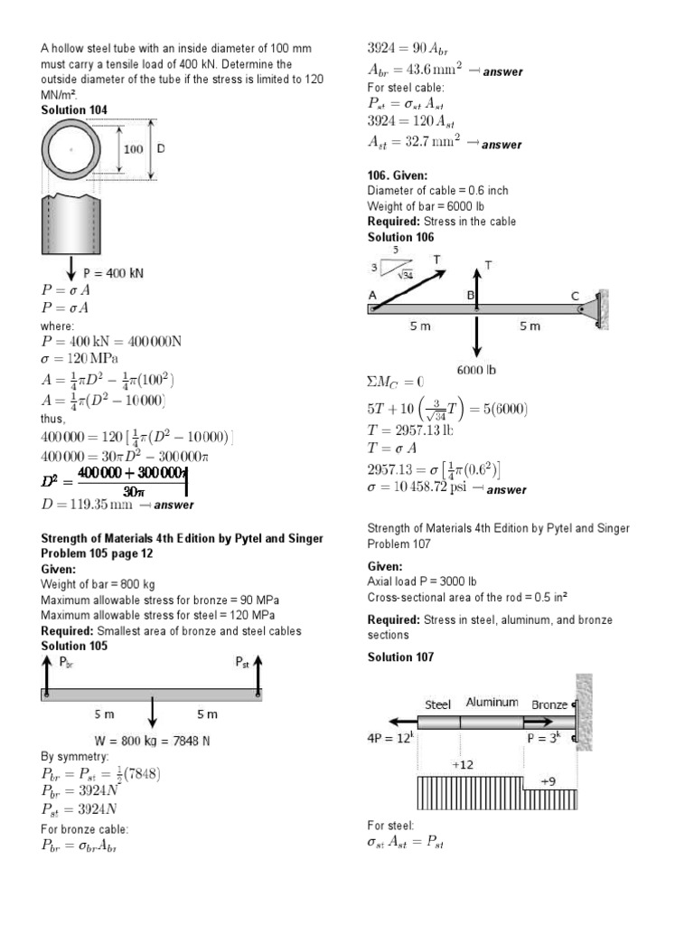 Strengths of Materials Simple, Bearing and SHearing Stress Answer keys |  Strength Of Materials | Rivet