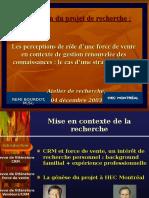 254336010 Les Perceptions de Role d Une Force de Vente en Contexte de Gestion Renouvelee Des Connaissances Le Cas d Une Strategie CRM