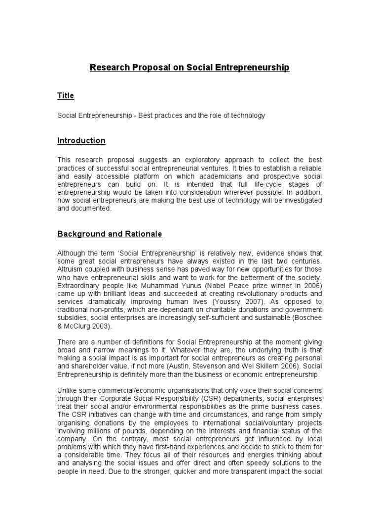 Phd research proposal on entrepreneurship
