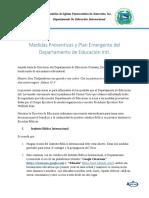 AIPJ EDUCACION - Medidas Preventivas y Plan Emergente del Departamento de  Educación Intl.
