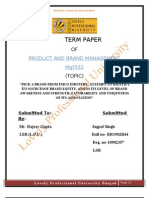 PRODUCT AND BRAND TERM PAPER R1902B44