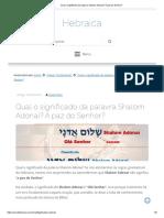 Qual o significado da palavra Shalom Adonai_ A paz do Senhor_