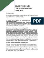 NACIMIENTO DE UN PROYECTO DE INVESTIGACION