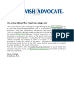 2014-01-17 - Jewish Advocate Letter - An Actual Attack That Requires a Response