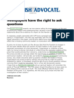 2014-01-17 - Jewish Advocate Letter - Newspapers Have the Right to Ask Questions