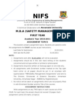 MBA(Safety Management) I -Assignment- 2010-2011