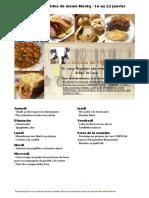 Menus de La Cuisine de Meme Moniq Du 16 Au 22 Janvier