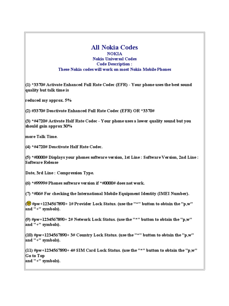 All Nokia Codes | Telecommunications | Mobile Technology