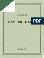 Montesquieu Charles-louis de Secondat - Essai Sur Le Gout