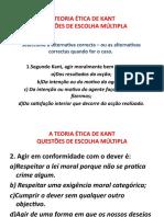 A TEORIA ÉTICA DE KANT - QUESTÕES DE ESCOLHA MULTIPLA