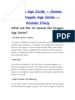 Games Like Dragon Age Series