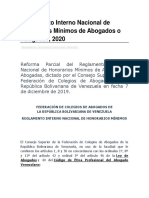 Reglamento Interno Nacional de Honorarios Mínimos de Abogados o Abogadas