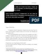 O Comentário Ao Liber de Causis de Santo Tomás de Aquino Tradução Do Proêmio Das Proposições I, II, III, VI, XV, XXI, XXXI e XXXII