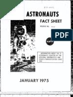 NASA Astronauts Fact Sheet 1975