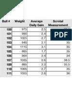 February Bull Weights