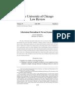 Sunstein y Thaler, 2003 - Libertarian Paternalism