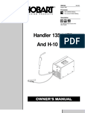 Hobart Handler 175 220 VAC MIG Welder User Manual o944_hob ... on old hobart welder parts, old hobart welder generator, old hobart welder manual,
