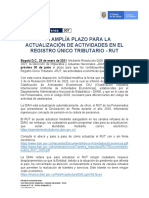 007 - DIAN AMPLÍA PLAZO PARA LA ACTUALIZACIÓN DE ACTIVIDADES EN EL REGISTRO ÚNICO TRIBUTARIO - RUT